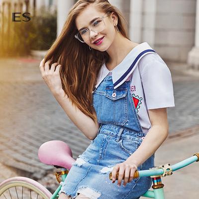 艾格ES夏季新款休闲时尚俏皮背带牛仔裙短裙连衣裙17032205147