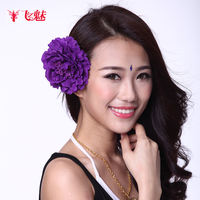 Fei charm new belly dance accessories hair accessories belly dance headdress wild peony head flower brooch dance jewelry female