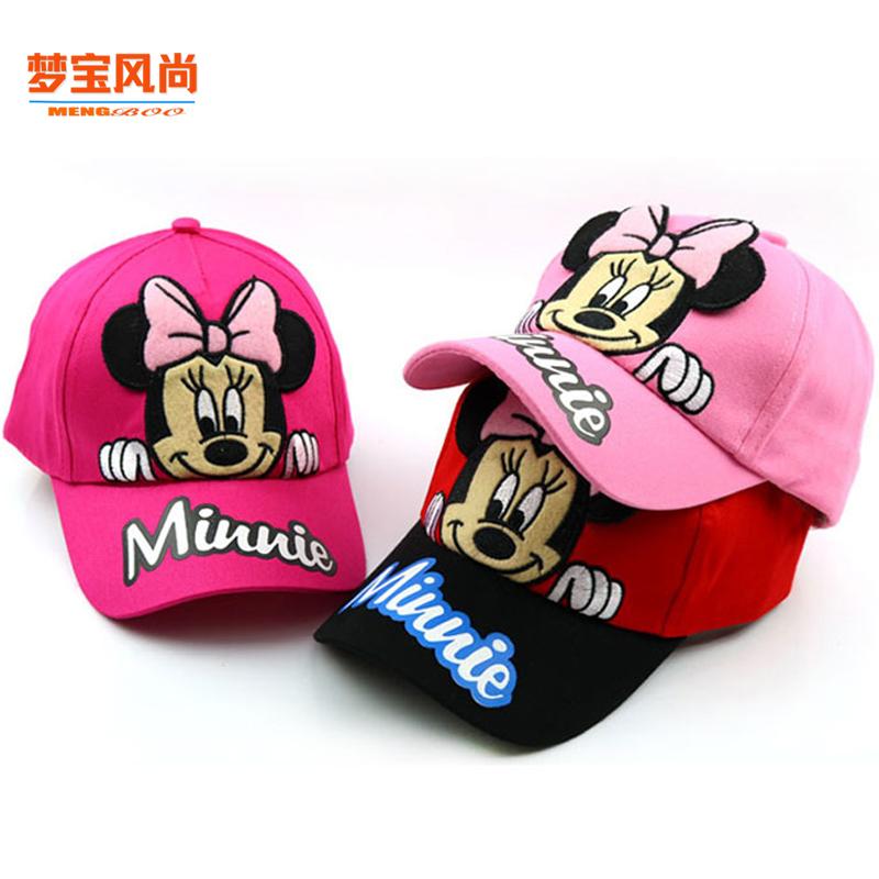 儿童米妮帽子春秋男女童米老鼠奇遮阳鸭舌帽宝宝防晒棒球帽太阳帽