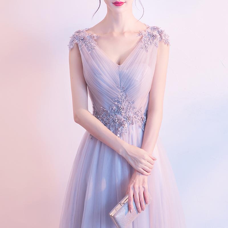 主持人晚礼服2019新款夏季宴会仙气质伴娘服长款气场女王连衣裙女