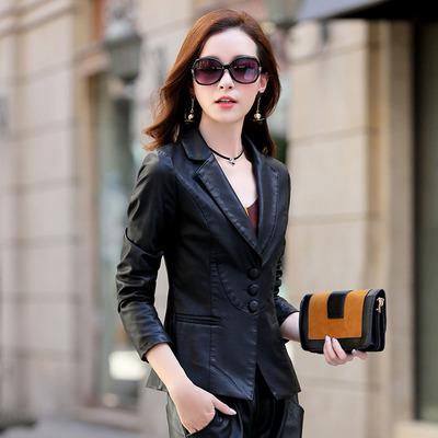 华哥弟情秋冬新款正品女装短装修身显瘦真皮百搭时尚小皮衣外套