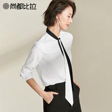 尚都比拉2019春新款时尚白色雪纺衫OL长袖衬衫女绑带上衣气质洋气图片