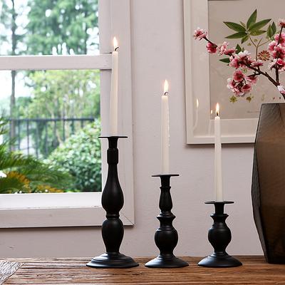 柔软时光 欧式古典黑白单头宫廷铁艺烛台 婚庆西餐铁艺蜡烛台摆设