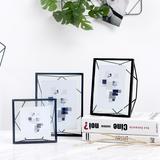 柔软时光北欧ins创意简约黑色金属玻璃相框画框支架桌面摆台礼物