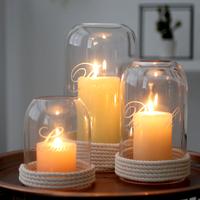 柔软时光欧式玻璃蜡烛台家居摆件浪漫婚庆创意烛光餐咖啡酒吧烛台