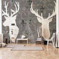马蒂斯3d无缝壁画个性麋鹿美式墙纸电视背景墙壁纸卧室客厅壁纸