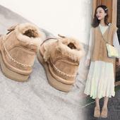百搭厚底休闲短靴学生加绒棉鞋 雪地靴女韩版 靴子女2018冬季新款