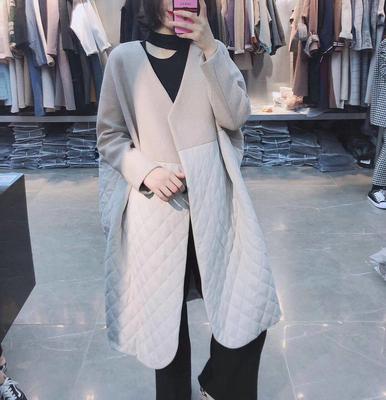 欧版2018冬新TinaSay女风衣休闲宽松羊毛呢拼接外套中长款大衣厚