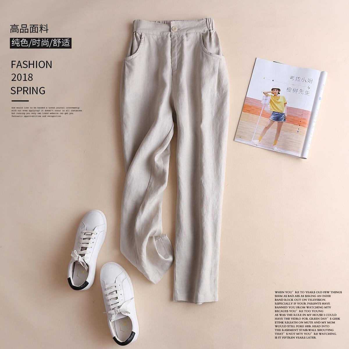 棉麻休闲铅笔裤