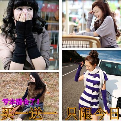 包邮假袖子秋冬保暖羊绒毛线针织手套加长款无指露半指手臂套袖女