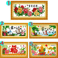 Computer machine embroidery cross stitch finished clearance sale living room pattern flower open rich non-handmade simple modern printing