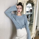 网红慵懒开衩长袖 女潮 宽松休闲T恤打底衫 秋装 chic上衣女2018新款