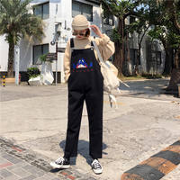 Bib female spring 2019 new loose Korean version of the college wind embroidery jeans wild student one-piece pants