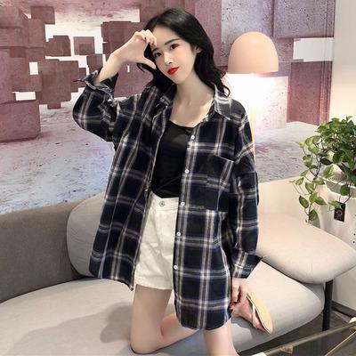 韩版宽松显瘦百搭大码格子衬衫女学生秋季中长款长袖防晒开衫外套