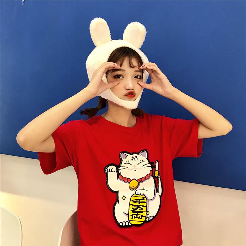 2018春夏季新款宽松显瘦套头短袖T恤招财猫大码半袖打底衫女 圆领