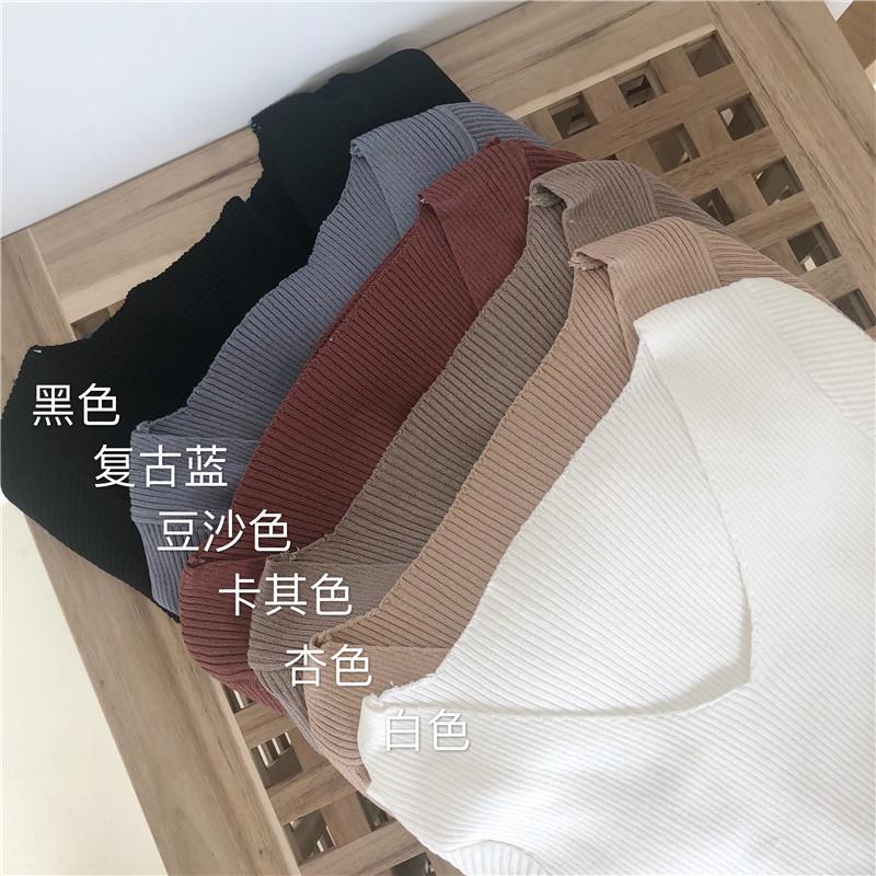 春夏新款女装韩版修身打底短袖上衣百搭短款针织衫t恤v领紧身T恤