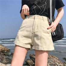 显瘦休闲热裤 百搭高腰牛仔裤 韩版 夏季女装 宽松卷边复古阔腿短裤图片