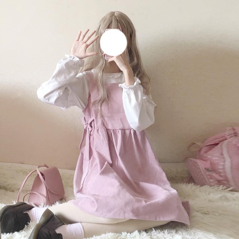 背带裙两件套长袖连衣裙背