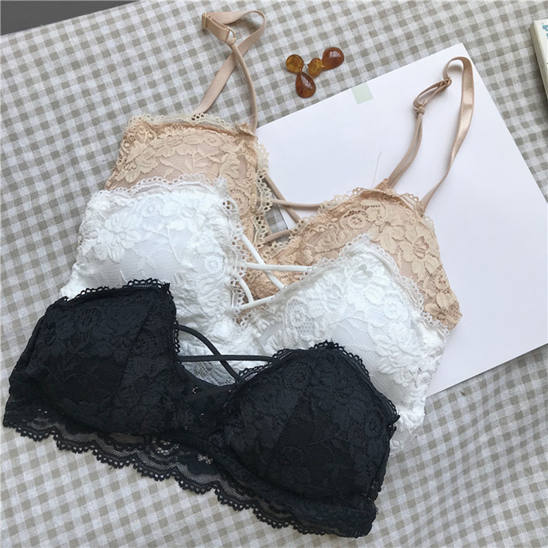 2018 spring new Korean version of the lace beauty back cross strap vest without rims belt