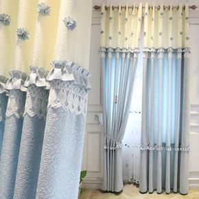 清新韩式田园立体绣花蓝色棉麻拼接窗帘布客厅卧室落地窗遮光成品