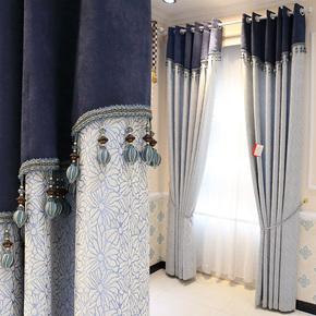 北欧棉麻拼接窗帘布绿色简约现代客厅卧室落地窗飘窗遮光成品定制
