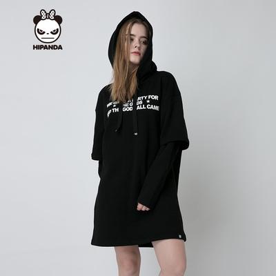 HIPANDA 你好熊猫 设计潮牌 新品 女款 织带套头长款卫衣