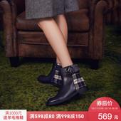 哈森 2018冬季新款方跟牛皮格纹靴子女 圆头拉链平底短靴HA81422