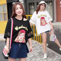 时尚大码女装韩版都市休闲女式T恤秋冬季大码镂空t恤品牌女装
