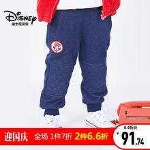 迪士尼宝宝欢乐礼遇女童不倒绒牛仔长裤2018秋款上新