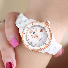 Ms. Rollston Watch Female Watch Quartz Watch Ceramic Watch 2019 New Fashion White Diamond Insert Waterproof
