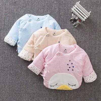 加厚新生儿半背棉衣宝宝衣服服装初生秋冬季棉服婴儿上衣0-3个月