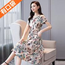 中老年女装连衣裙棉绸短袖夏季中年妈妈裙子中长款印花大码宽松女