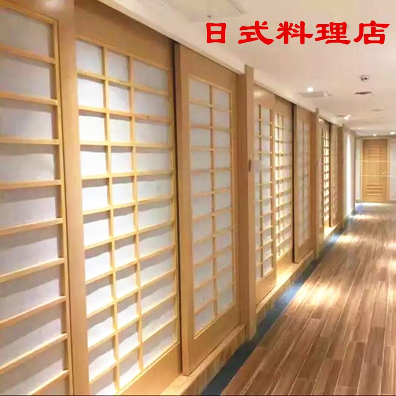 常州榻榻米格子门定制和室推拉吊装门屏风隔断定做料理店酒店茶室
