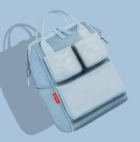 兰多 拼接款多功能大容量妈咪包时尚双肩妈妈包外出包母婴包