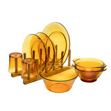 France DURALEX / Doles imported cutlery set 8 pieces boxed amber household tempered glass dishes
