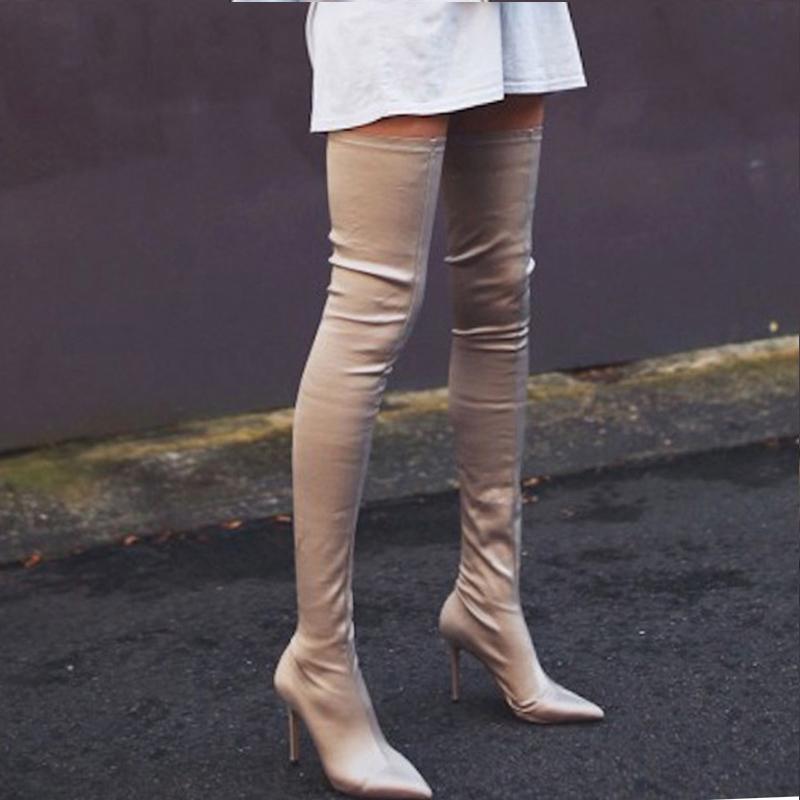 高跟尖长靴女加绒