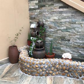 水乡故事阳台装饰落地花园庭院室内客厅鱼缸假山流水喷泉鱼池摆件