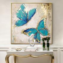 现代简约北欧玄关竖版过道走廊定制装饰画纯手绘抽象赵无极油画