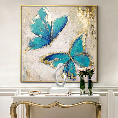 油画北欧餐厅装饰画金色墙画轻奢金箔画客厅壁画现代简约玄关挂画