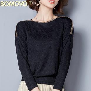秋裝新款純色打底衫女優雅氣質性感銀絲網紗上衣秋季寬松顯瘦小衫
