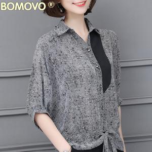2018新款夏装五分袖衬衫女夏季POLO领上衣印花宽松气质中袖衬衣夏