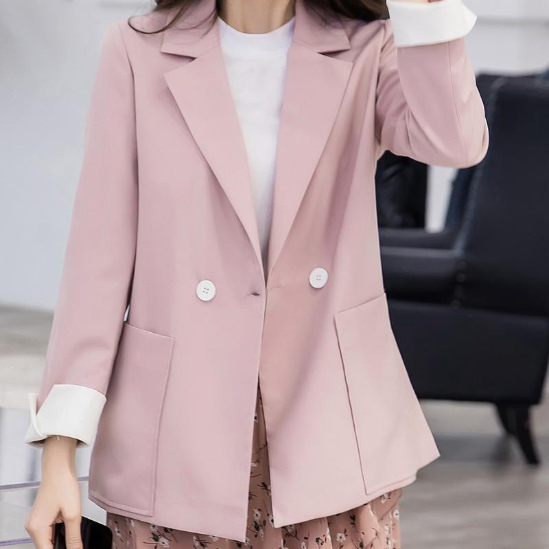 小西装女春季2019新款韩版修身时尚气质淑女优雅西装领一粒扣外套