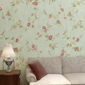 温馨美式乡村田园壁纸复古无纺布卧室墙纸小花客厅沙发背景墙加厚