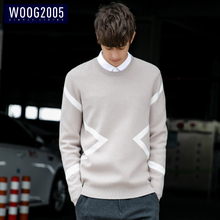WOOG 2005 Korean version round collar Pullover Sweater men's fashion line sweater autumn 2018 men's sweater thicker knitted sweater