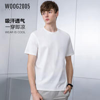 Ice silk cotton woog2005 solid color short-sleeved t-shirt male 2019 summer simple half-sleeved t-shirt silk cotton bottoming shirt
