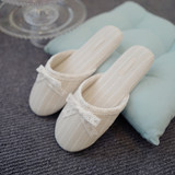 Summer new products Lace bow cotton and linen plain home slippers Simple rubber bottom indoor floor slippers