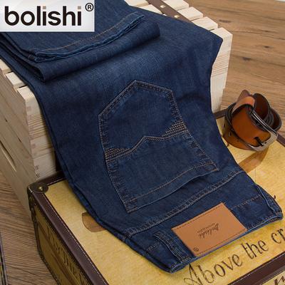 柏力仕夏季男装时尚蓝色长裤  纯棉中腰直筒青年牛仔裤男薄款