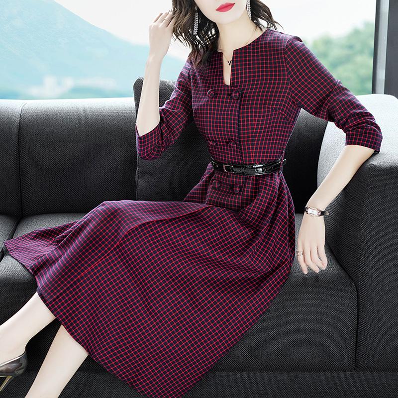 复古红色格子连衣裙