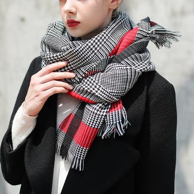 秋冬新款欧美风千鸟格围巾毛毯大披肩男女经典黑白格子毛须边围巾