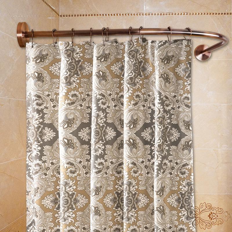 浴室免打孔复古红铜不锈钢弧形U型浴帘杆l型卫生间转角浴架单独杆5元优惠券